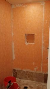 161 Progress pics of new tile shower job in Glen Allen 6-13-14